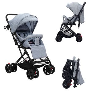 YOLEO Buggy, nur 5 kg Ultra Leicht Kinderwagen, Zusammenklappbar Jogger mit 8 Räder XL Einkaufs Korb, Liegeposition ab Geburt Grau