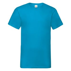 Fruit Of The Loom Valueweight T-shirt für Männer mit V-Ausschnitt, kurzärmlig BC338 (3XL) (Azurblau)