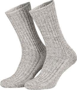 Tobeni 5 Paar Herrensocken Norwegersocken Arbeitssocken Winter Socken Wolle mit Frotteesohle, Farbe:Grau, Grösse:39-42