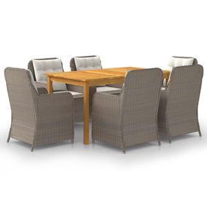 Gartenmöbel Essgruppe 6 Personen ,7-TLG. Terrassenmöbel Balkonset Sitzgruppe: Tisch mit 6 Stühle, Braun❀4656