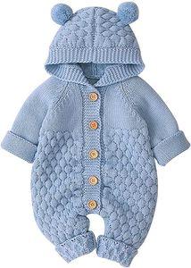 Neugeborenes Baby Ohr Kapuze Gestrickte Strampler Overall Winter wärmer Schneeanzug für Jungen Mädchen - 66cm