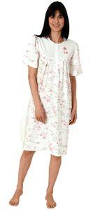 Damen Nachthemd kurzarm mit 105 cm Länge und Kopfleiste am Hals - 65276, Farbe:creme, Größe:52/54