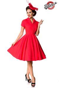 Retro Swingkleid mit Umlegekragen, Farbe: Rot, Größe: XL