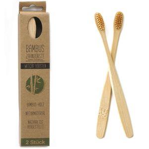 Bambus Zahnbürste 2er Set weiche Borsten ohne Plastik | Zahnbürsten aus Holz mit Naturborsten | Plastikfrei nachhaltig zero waste bamboo toothbrush