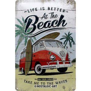Nostalgic-Art - Blechschild Metallschild 20x30cm - VW Bulli Beach