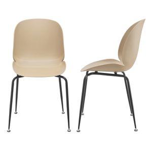 Esszimmerstuhl 2er-Set 85x46x58cm Design Stühle Esszimmerstühle Esszimmer Stuhl Wohnzimmerstuhl Küchenstuhl Beige [en.casa]