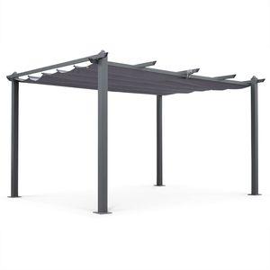 Aluminium-Pergola - Condate 3x4m - Grau Stoff - Laube ideal für Ihre Terrasse, verstellbares Dach, Stoff-Faltdach, Aluminiumgestell