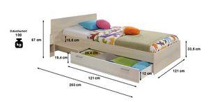 Jugendbett Charly 90*200 cm inkl Bettkasten + Ablagetisch Akazie beige / weiß Jugendzimmer Kinderbett Bettliege Bettgestell