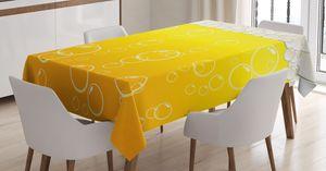 ABAKUHAUS Abstrakt Tischdecke, Blasen Bier Makro, Für den Inn und Outdoor Bereich geeignet Waschbar Druck Klar Kein Verblassen, 140 x 240 cm, Gelb Weiß
