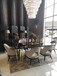 Casa Padrino Luxus Art Deco Esszimmer Set Beige / Dunkelbraun / Gold - 1 Esstisch & 6 Esszimmerstühle - Hochwertige Art Deco Esszimmer Möbel
