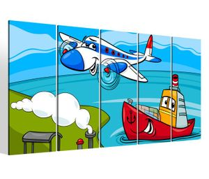 Leinwandbilder 5 teilig XXL 200x100cm Kinderzimmer Boys Flugzeug Kat2 Zug Boot Schiff Druck auf Leinwand Bild 9BM659