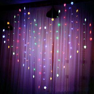 112 LED Herz Lichtervorhang Lichterkette 8 Beleuchtungsmodi Hochzeit Valentinstag Party Weihnachten Deko, Bunt
