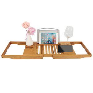 Badewannenablage aus Bambus,Betttablett ausziehbar mit Füßen, Getränkehalter, Buchständer