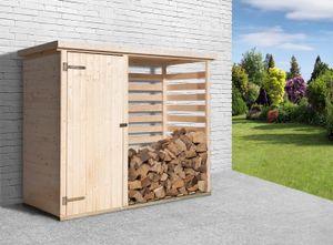 WEKA Brennholzlager 663, Farbe: naturbelassen, Länge: 250 cm, Breite: 100 cm, Höhe: 35 cm; 663.2409.00.00