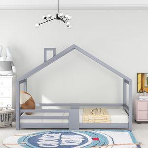 Kinderbett Hausbett mit Schornstein Rausfallschutz Robuste Lattenroste Kiefernholz Haus Bett, Grau