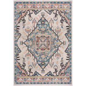 Teppich Wohnzimmer - Orient - Multicolor Vintage Modern - Boho Design - mit Fransen  Standard 100 - Allergiker geeignet, Teppich Größen:200 x 290 cm