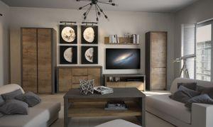 Wohnzimmer Komplett - Set C Selun, 6-teilig, Farbe: Eiche Dunkelbraun / Grau