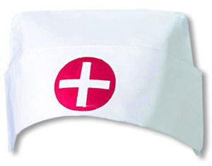 Weiße Krankenschwester Haube