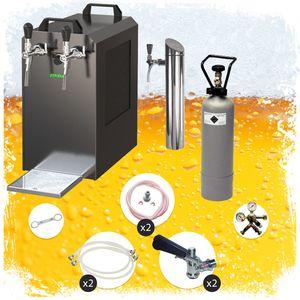 Untertheken Komplett Set - Zapfanlage STREAM 80 Bierkoffer, Durchlaufkühler 2-leitig Trockenkühler, Zapfkopf:Kombi, Zapfkopf 2:ohne