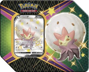 Pokemon Sammelkarten SWSH 4.5 Tin Box 'Glänzendes Schicksal', Charakter:Cottomi-V