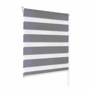 Rapid Teck® Klemmfix Doppelrollo Grau 60 cm x 150 cm Fensterrollo Duo Rollo mit Klemm-Fix Halterung ohne Bohren