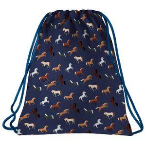 Pferde Sporbeutel Turnbeutel Tasche Sporttasche Schuhbeutel Pferd Motiv blau