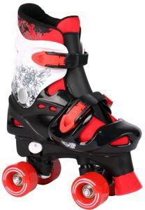 Kinder Rollschuhe verstellbar (33-36) schwarz / weiß / rot