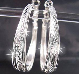 Ohrringe Creolen 4cm Silber plattiert Ohrcreolen Damen O2151