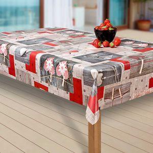 Wachstuch-Tischdecke Wachstischdecke Tischwäsche Abwaschbar Wachstuchdecke EZ, Muster:Herz. rot/grau, Größe:140-140 cm