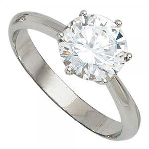 JOBO Damen Ring 925 Sterling Silber rhodiniert 1 Zirkonia Silberring Größe 64