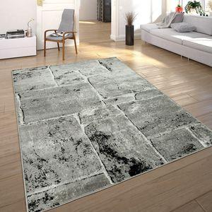 Designer Teppich Modern Trendig Meliert Steinoptik Mauer Muster Wohnzimmer Grau, Grösse:120x170 cm