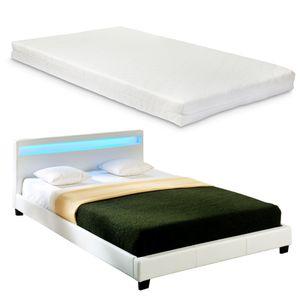 Corium® LED Polsterbett 'Paris' - 140 x 200 cm - Weiß Kunstleder - mit Lattenrost und Matratze