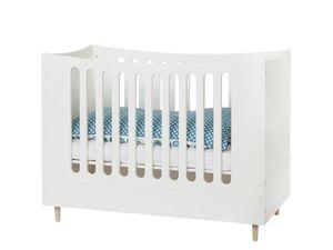 Babybett Weiß 60x120cm mit Buche Füßen, Manis-h