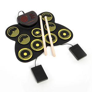 Tragbares elektronisches Drum-Set USB-Roll-Up-Drum-Pad-Kit 9 Drumpads Eingebauter Lautsprecher mit Drumsticks und Fusspedalen Digitale Percussion-Instrumente