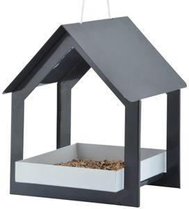 Esschert Design Futterhaus hängend anthrazit/ weiß; FB407; 19,3x19,1x23,2 cm