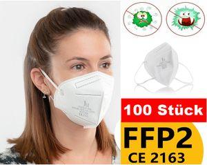 ✅ GKA (deutscher Händler) 100 Stück FFP2 Maske CE 2163 Zeichen Mundschutz Atemschutzmaske Gesichtsschutz Masken  5 Lagen (BFE): ≥ 94 %✅
