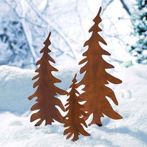 3 tlg. Set Tannenbaumstecker-Set Gartenstecker Rost XMAS Weihnachtsdeko Außen