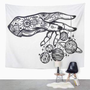 ABPHQTO Flash Astronomy Inked Mensch Hand Marionette Marionette Mond Wandkunst Hängende Tapisserie 150x200 cm