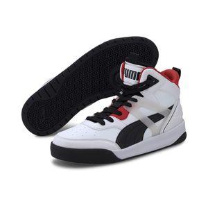 Puma BACKCOURT MID Unisex Schuhe Sneaker Mid Cut Basketballsneaker, Größe:UK 5 - EUR 38 - 24 cm, Farbe:Weiß (Puma White-High Risk Red)