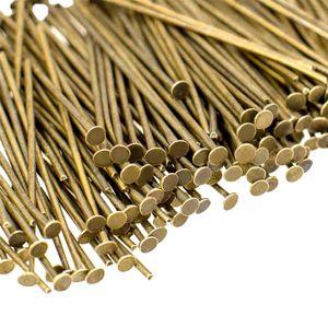 300 Kettelstifte / Nietstifte / Flachkopfstifte, sortiert, 0,7 x 30 mm, bronze