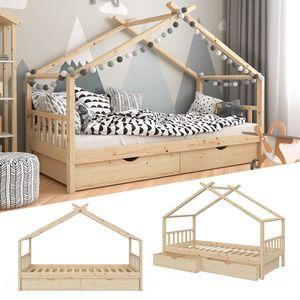 VitaliSpa Kinderbett DESIGN Hausbett mit Schubladen und Lattenrost Klarlack 90x200cm