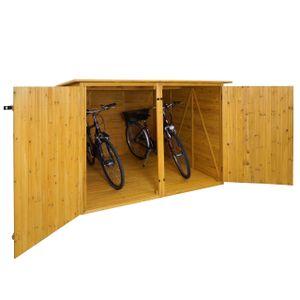 2er-Fahrradgarage HWC-H60, Fahrradbox Geräteschuppen Gerätehaus, abschließbar 151x200x200cm  braun