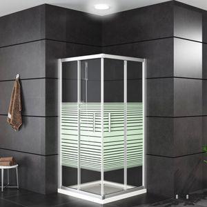Oimex OT Duschkabine Eckeinstieg mit Verstellbereich, OHNE Tasse, Echtglas, Schiebetüren mit Leichtlaufrollen, Größe 80 x 80 x 180 cm. Version: mit Sichtschutz