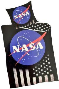 Bettwäsche NASA 135x200cm Baumwolle | Mit Reißverschluss, Wendedesign mit NASA-Logo, US-Flagge und Sternen.