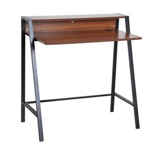 HOMCOM Schreibtisch Computertisch Bürotisch Arbeitstisch mit Kabeldurchlass Schublade Spanplatte, Stahl
