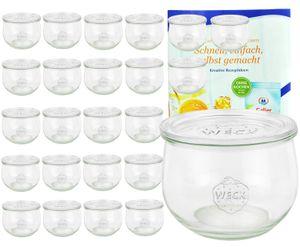 24er Set Weck Gläser 580ml Tulpengläser 1/2L mit 24 Glasdeckeln inkl. Gelierzauber Rezeptheft