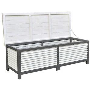 XXL HOLZ Auflagenbox Gartentruhe 140 cm weiß grau