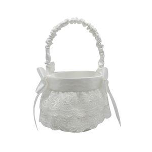 Hochzeitsblumenmaedchenkorb Niedlicher Bowknot Pearl Design Romantischer Hochzeitsblumenkorb