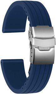 Uni Kautschuk Armband mit Edelstahl Silber Faltschließe, Blau, 20mm