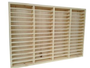 eCom Fabarius MC Regal für 60 Kassetten, Medienregal aus Holz (Kiefer), fertig montiert, Farbe Natur